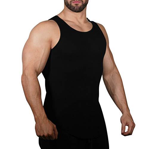 Sllowwa Tankshirt Ärmelloses Tank-Top für Herren Basic Trägershirt Sport Kurzarm atmungsaktiv Muskelshirt Slim Fit Blusen Gym