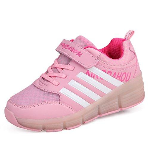 6831eab47ce68d KISCHERS Kinder Junge Mädchen LED Schuhe mit Rollen Skateboard Rollschuhe  Sneaker (36