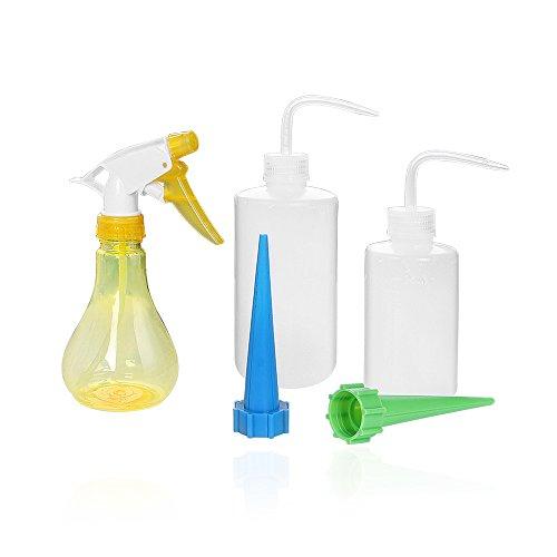 VISEMAN Pflanzen-Bewässerungs-Set - 5-teiliges Gießflaschenset, inkl. Gießkannen und Sprühflasche für Sukkulenten / Pflanzen / Blumen (Mini-flaschen Bevorzugt)