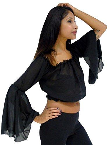 WR4X Neue Choli Bauchtanz Chiffon Winged Arm Top Tribal Gypsy Kostüm Größe 10 - 16 S M L (Zigeuner Kostüme Uk)