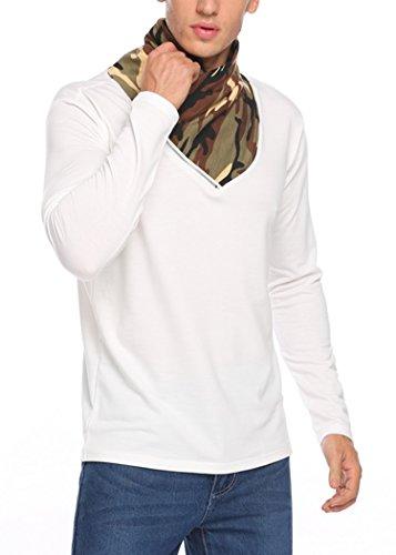 Finejo Sweatshirt Herren Langarm Camouflage Zipper Oversize Leicht Stehkragen Slim Fit T-Shirt Weiß