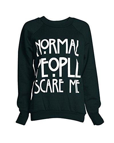Fast Fashion - Sweatshirt Haut Brooklyn 76 Los Angeles Et Work Out Imprimer Toison - Femmes Scare Me Vert Bouteille