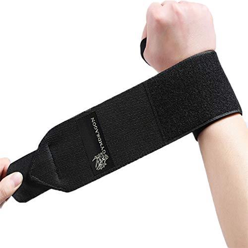 Gymdragon Fitness Handgelenkbandage 50cm, 2X Bandagen, Fitness, Bodybuilding, Kraftsport, Crossfit, verbessert die Unterstützung von Handgelenk und Unterarm (schwarz, 50)