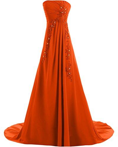 Missdressy Damen Elegant Chiffon Falte Applikation Schnuerung Traegerlos Lang Abendmode Abendkleider Partyleider Festkleider Orange