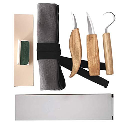 YEESON Kit di Intaglio in Legno, 5pcs Set di Strumenti per Intaglio del Legno Coltello da Intaglio Mini Strumenti in Acciaio a Scalpello con Manico