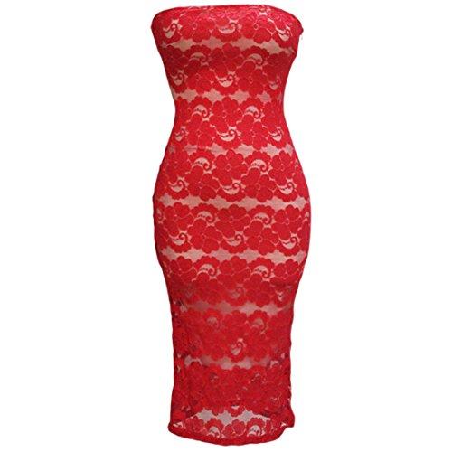 Charmante Frauen schnueren sich traegerloses Kleid reizvolles BodyCon Slim Wrap Langes Kleid Kleider Rot