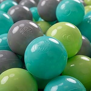 KiddyMoon - Pelotas de plástico para niños, 50 Unidades, 7 cm,, Color Verde Claro/Turquesa Claro/Gris