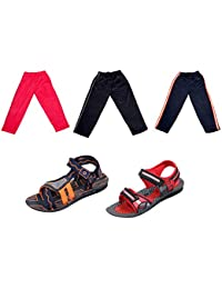 Indistar Boys Combo Pack(Pack Of 2 Boys Sandal And 3 Boys Cotton Lower/Track Pants) - B072QM239H