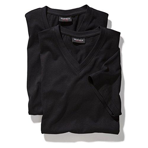 T-Shirts V-Ausschnitt Doppelpack schwarz Redfield Übergröße Schwarz