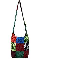 Entrar Multicolor Paz Impreso Handloom Dhurrie algodón Jhola Bolsa para ella