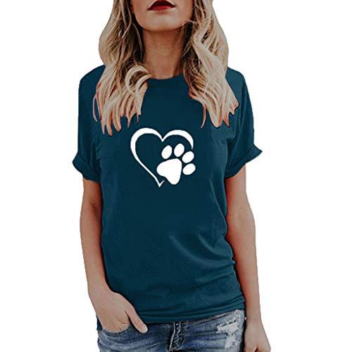 iHENGH Damen Top Bluse Bequem Lässig Mode T-Shirt Frühling Sommer Blusen Frauen Womens Summer Cute Print Tops Kurzarms(Blau, 2XL) -