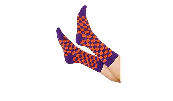2a6a362d3300 MINGA LONDON Krush Checkered Socks Ankle Length Women Purple Orange Multi  Colour Print: Amazon.co.uk: Clothing