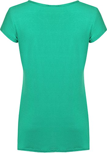 WearAll - Femmes Buttefly Imprimer Manches Courtes T-Shirt Baggy Top - Femmes - Hauts - Tailles 42-48 Jade