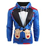 WWricotta Men Christmas Suit Pattern 3D Print Long Sleeve Hoodie Caps Sweatshirt Pullover(Blau,XXL)