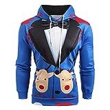 WWricotta Men Christmas Suit Pattern 3D Print Long Sleeve Hoodie Caps Sweatshirt Pullover(Blau,XL)