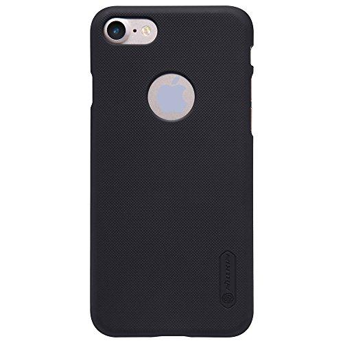 Nillkin Frosted Shield - Rückwertiges starres Schongehäuse, rutschfest + Kunststoff-Displayschutzfolie für iPhone 7 - Schwarz schwarz