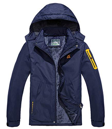 TH&Meoostny Outwear Winterjacke Herren Winddicht Wasserdichte Kapuze Damenjacke Warme Männer Parkas Coat Men Dark Blue 7XL