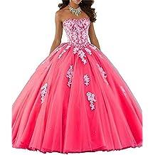 c82d187ec1 XUYUDITA Mujeres Lace piso de longitud vestido de baile Quinceanera vestido  vestido de fiesta Tul