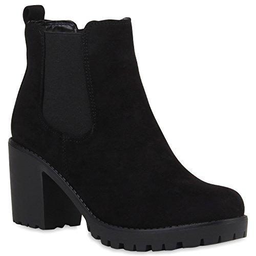 Stylische Damen Boots Stiefeletten Chelsea Boots Knöchelhohe Stiefel Zipper Leder-Optik Booties Schuhe 106118 Schwarz Schwarz 39 Flandell