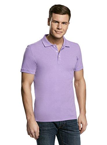 oodji Ultra Herren Pique-Poloshirt, Violett, De 58-60/XXL (Kurzarm Poloshirt Vintage)