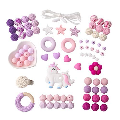 Mamimami Home Baby Beißring Einhorn Silikon Perlen Schnuller Dummy Clip Kauen Armband DIY Kit handgemachte Halskette Zubehör Kinderkrankheiten Spielzeug - Kauen Schnuller-clip