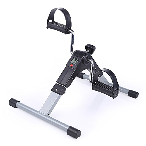 Evoland Minibicicleta Estática Plegable para Entrenamiento de Brazos y Piernas, Pedaleador Plegable con LCD Pantalla y Resistencia Ajustable