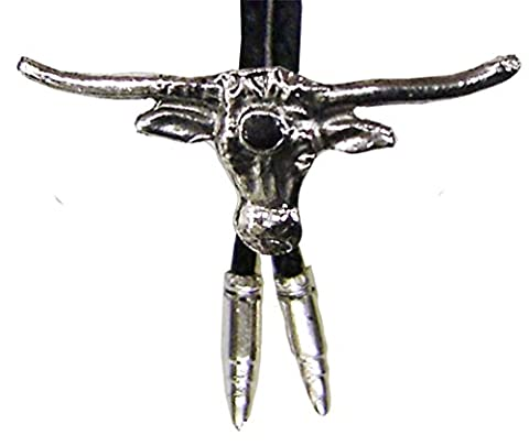 Modestone Bolo Longhorn Bull Head Onyx-Like Stone & Silver Bullets O/S Silver