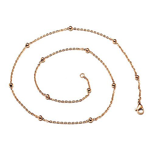 NIUWJ Frauen Fashion Wild Halskette Titan Stahl Rose Gold Kreuz Perlen Kette Artikel Dekoriert