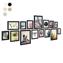 Idea Regalo - Photolini Set da 15 cornici fotografiche Basic Collection Modern nero in MDF, accessori inclusi/Collage foto/Galleria fotografica
