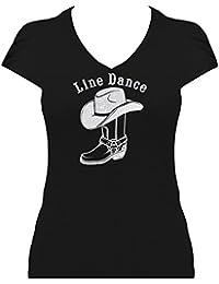 BlingelingShirts Premium Western Shirt Damen Line Dance Schriftzug mit Cowboystiefel und Cowboyhut Glitzerdruck