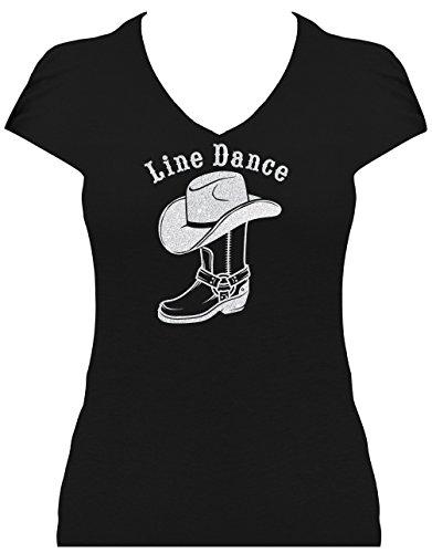 Shirt Damen Line Dance Schriftzug mit Cowboystiefel und Cowboyhut Glitzerdruck Western Fun Shirt, T-Shirt schwarz Druck Silber GL, Grösse M,