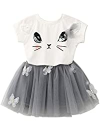 Saingace 3-7 Years Kids Little Baby Girl Cute Cat Pattern Princess Dress  Birthday Gown aa3a065ec