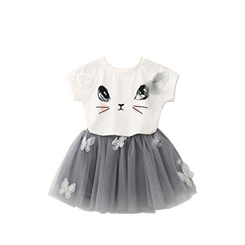 Kostüm Cowboy Cat - YWLINK Kinder MäDchen Süß Karikatur Cat Drucken T-Shirt Einfach Oben Schmetterling Applikation Mesh Tutu Rock Party Hochzeit Kleidung Set(Weiß,100)