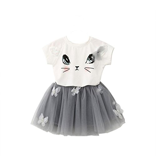 Baby Kapuzenpulli Honestyi Kinder Mädchen Katze Muster Shirt Top Schmetterling Tutu Rock Set Kleidung ()