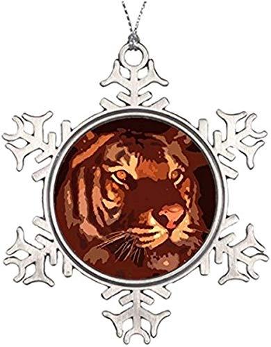 , Metal Snowflake Ornament, Personalised Christmas Tree Decoration Blacklight Tiger Face Halloween Snowflake Ornaments Keepsake Gift ()
