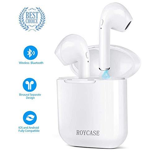 roycase Wireless Bluetooth Headset, In-Ear-Kopfhörer kabellose Headsets Stereo-Mini-Kopfhörer wasserdicht Geräuschunterdrückung mit Ladekoffer und eingebautem Mikrofon - Mini Wasserdicht Stereo