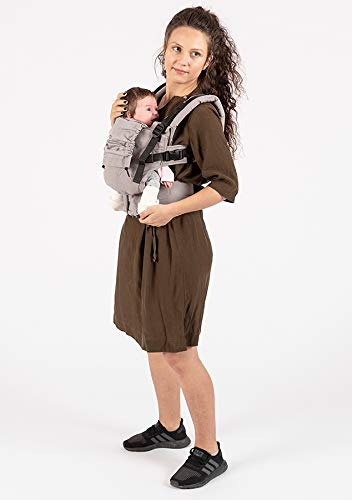 """ISARA The ONE Manhattan ISARA Super adjustable ergonomic carrier. Transitioning from newborn to preschooler is done in just one step. revolutionary """"two-is-better-than-one"""" functionality, allowing the wearer to ultra-adjust the carrier both in length and width. 100% organic cotton, canvas fabric, GOTS certified.Super-soft leg & arm padding for baby. Made of high-quality materials, from buckles, straps, webbings, and Velcro recognized even in the automobile industry for resistance and endurance. Detachable hood 3 wearing positions: front, back and hip. Shoulder straps can be rucksack or crossed on the back """"X'. 1"""