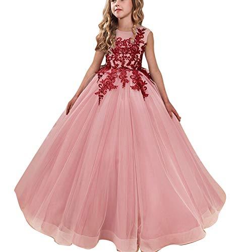 Ttyaovo vestito da cerimonia nuziale delle ragazze degli abiti da ballo della principessa pageant delle ragazze ricamati dimensioni 6-7 anni pesche