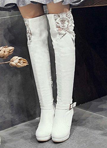 Aisun Femme Sexy Dentelle Longues Genou Cuissardes Bottes Blanc