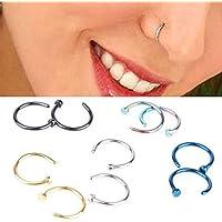 tqwy Acero Quirúrgico 316L Pequeño Abierto, nariz anillo/aro cartílago de la oreja Piercings Piercing grosor 0,8 mm y 8 mm de diámetro