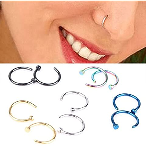 tqwy Acero Quirúrgico 316L Pequeño Abierto, nariz anillo/aro cartílago de la oreja Piercings Piercing grosor 0,8mm y 8mm de