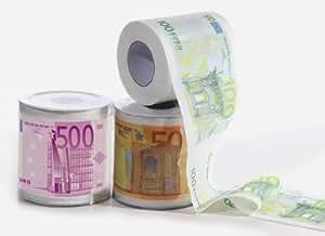 3 Rouleaux de 50 €, 100, 500 €€papier toilette euro 300 feuilles de papier toilette ultra de rangement