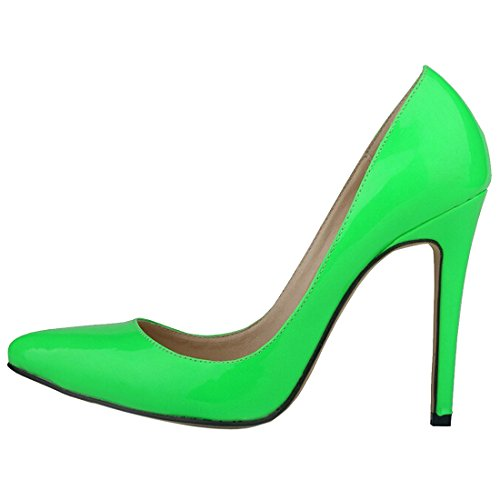 Azbro Sweet Solid Closed Toe Pointed Slender Pumps Stiletto High Heels Green