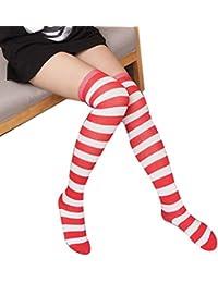 50521d67d86 Doitsa 1 Paire Chaussettes Montantes pour Femme Fille - Chaussettes de  Genou - Chaussettes rayées -