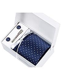 Coffret Cadeau Florence - Cravate bleu marine à motif carrés blancs, boutons de manchette, pince à cravate, pochette de costume