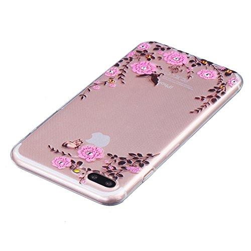 LuckyW TPU Handyhülle für Apple iPhone 7 7s(4,7 zoll) Soft Silikon Tasche Transparent Schale Clear Klar Hanytasche Durchsichtig Rückschale Ultra Slim Thin Dünne Schutzhülle Weiche Flexibel Kratzfeste  Rose