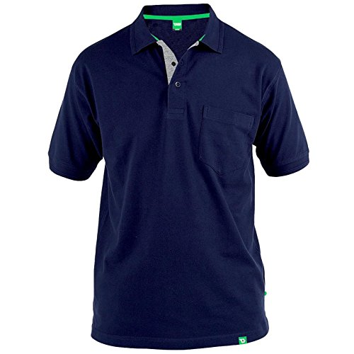 D555 Duke Kingsize Big Mens Grant Pique Polo Shirt Navy 2XL-6XL RRP £18.00 3XL Navy (Poloshirt Tall Herren Big)