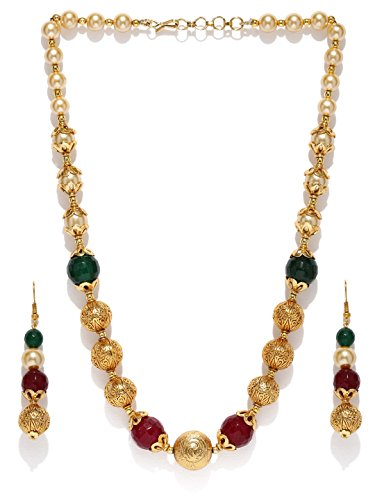 Zaveri Pearls Stunning Rajwada gold plated beaded necklace set-ZPFK4228  available at amazon for Rs.592