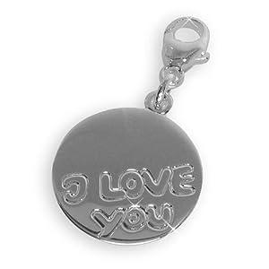 """Sterling Silber 925 Charm Anhänger""""I love You"""" incl.persönliche Wunsch-Gravur (Art.201051) Gratis Express Gravur"""