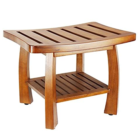 Oceanstar Solid Wood Spa Bench with Storage Shelf, Teak color